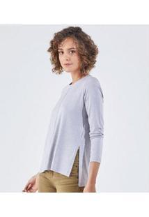 Camiseta Liz Easywear Manga Longa Feminino - Feminino-Cinza Claro