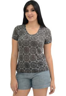 Camisa Energia Fashion Estampada Marrom