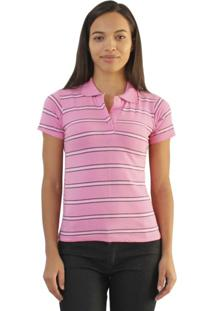 Camiseta Versatti Adriana Polo Listras Rosa