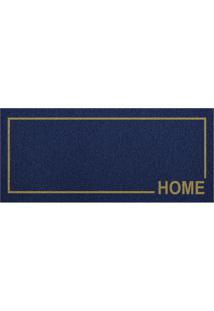 Tapete Home Moldura Retangular (30X70) Azul E Amarelo