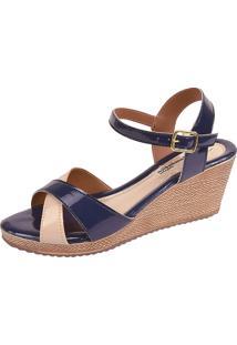 Sandália Romântica Calçados Anabela Azul-Marinho
