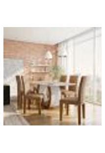 Conjunto De Mesa De Jantar Com 6 Cadeiras Estofadas Olívia Animalle Off White E Chocolate