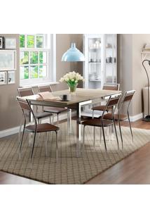 Conjunto De Mesa Com 6 Cadeiras Casual Nogueira E Cacau Contemporânea