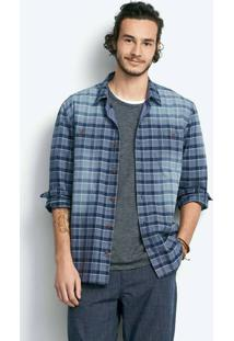 Camisa Masculina Em Tecido De Algodão Xadrez
