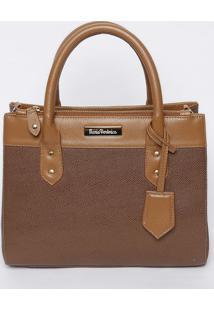 Bolsa Em Couro Com Bag Charm - Marrom- 23X28X12,5Cmv Couros