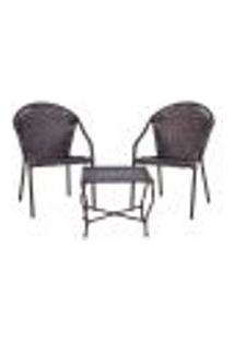 Conjunto Mesa Baixa E 2 Cadeiras Para Área Edicula Jardim Biquini Ferro E Fibra Pedra Ferro