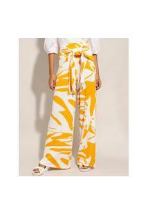 Calça Pantalona Estampada De Folhagem Com Nó Cintura Super Alta Amarela