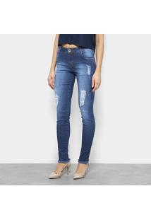 31e2c2f45 ... Calça Jeans Skinny Morena Rosa Puídos Cintura Média Feminina - Feminino -Azul