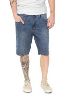 Bermuda Jeans Hurley Reta Pespontos Azul