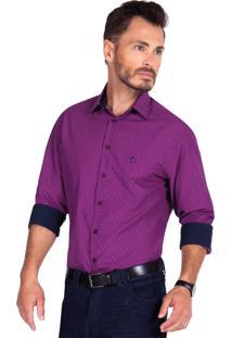 Camisa Olimpo Camisaria Maquinetada Manga Longa Violeta