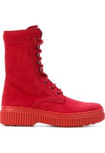 Tod'S Ankle Boot De Camurça - Vermelho