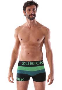 Cueca Boxer Sem Costura Corpo Preto Listra Verde E Azul