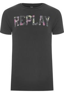 Camiseta Masculina Floral - Preto