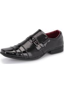 Sapato Social Sintético 833 Preto Verniz Schiareli