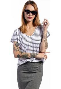 Camiseta Cia Gota Listrada Basic Feminina - Feminino-Branco