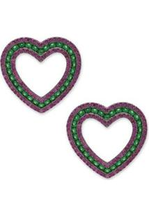 Brinco Coração Cravejado Com Zircônias - Feminino-Pink+Verde