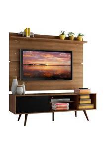 Rack Madesa Cairo E Painel Para Tv Até 65 Polegadas Com Pés De Madeira - Rustic/Preto/Rustic Marrom