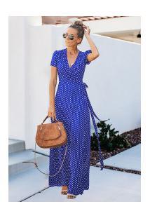 Vestido Branly Longo - Azul Com Bolinhas Brancas