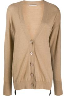 Stella Mccartney Asymmetric Logo Stripe Cardigan - Neutro