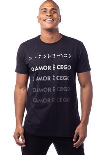 Camiseta Manga Curta Valks O Amor É Cego Preta