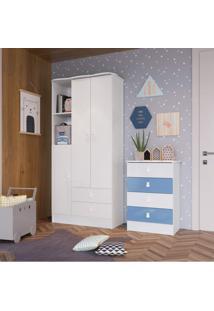 Quarto De Bebê Completo Com Guarda Roupa E Cômoda 376993 Siena Móveis Branco/Azul