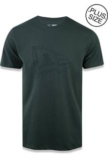 T-Shirt New Era Plus Size New Era Brasil Verde Militar