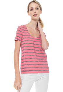 Camiseta Lacoste Listrada Rosa