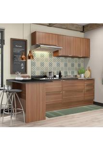 Cozinha Compacta 7 Portas 4 Gavetas 5455R Nogueira/Malt - Multimóveis