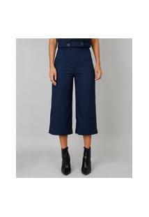 Calça Feminina Pantacourt Texturizada Azul Marinho