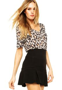 Blusa Animale Onça Giz Off-White/Preto