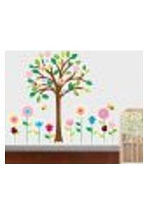 Adesivo De Parede Árvore E Flores - Eg 113X98Cm