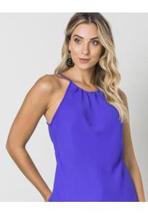 Blusa Zinzane Alças Finas Com Pregas Decote - Feminino-Azul