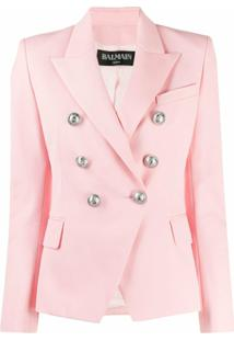 Balmain Blazer Com Abotoamento Duplo - Rosa