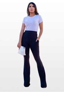 Calça Flare Boobly Plus Size Cintura Alta Preta