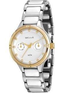 Relógio Feminino Seculus Analógico - Unissex-Prata