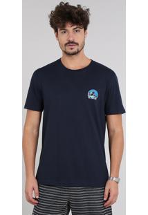 "Camiseta Masculina ""Go Explore"" Manga Curta Gola Careca Azul Marinho"
