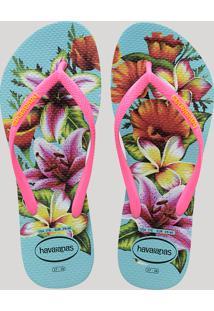 Chinelo Feminino Havaianas Slim Estampado Floral Rosa