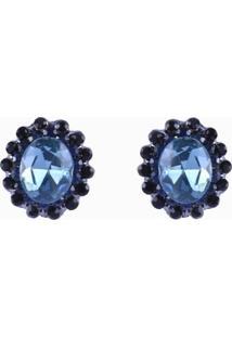 Brinco Armazem Rr Bijoux Pequeno Cristal Oval Azul - Incolor - Feminino - Dafiti