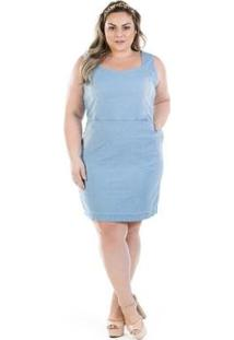 Vestido Jeans Regata Vinil Com Bolso Plus Size - Feminino-Azul