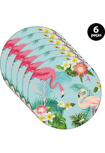 Sousplat Mdecore Flamingo 32X32Cm Azul 6Pçs