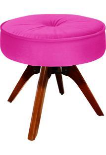 Puff D'Rossi Decorativo Julia Redondo Suede Pink Com Base Giratória De Madeira