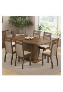Conjunto Sala De Jantar Versalhes Madesa Mesa Tampo De Madeira Com 6 Cadeiras Rustic/Crema/Pérola