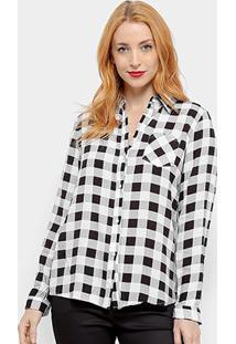Camisa Xadrez Adooro! Manga Longa Feminina - Feminino-Branco+Preto