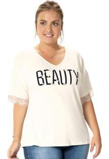 Blusa Bege Beauty Com Renda