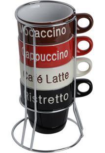 Jogo De Xícaras Para Café Names Com Suporte- Marrom Escubon Gourmet