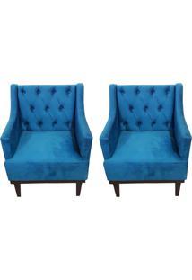 Kit 02 Poltronas Decorativa Clã¡Ssica Capiton㪠Suede Azul Veludo - Ds Mã³Veis - Azul - Dafiti