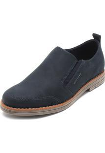 Sapato Couro West Coast Recorte Azul-Marinho