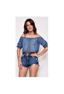 Blusa Jeans Versus Magazine Manga Curta Paulina Azul