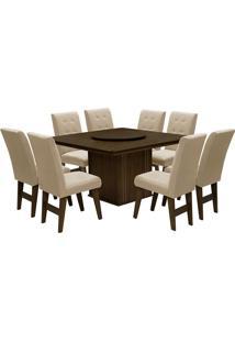 Conjunto De Mesa Para Sala De Jantar Com 8 Cadeiras Esparta-Dobue - Castanho / Bege