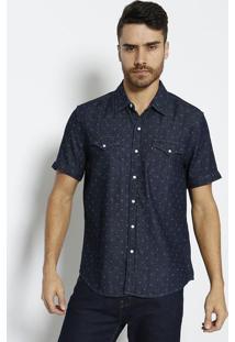 Camisa Jeans Com Bolsos & Recortes - Azul Escurolevis
